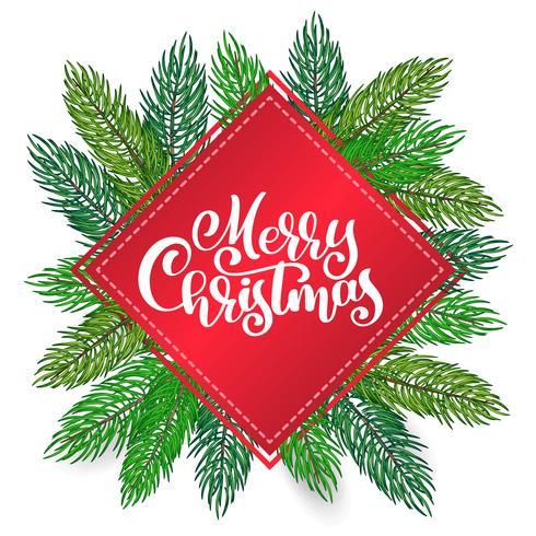 tekst Merry Christmas handgeschreven kalligrafie letters op de achtergrond van een kerstboom. Handgemaakte vectorillustratie. Leuke penseelinkt typografie voor foto-overlays, t-shirt print, flyer, posterontwerp vector