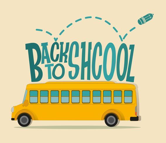 Terug naar schoolthema met schoolbus vector