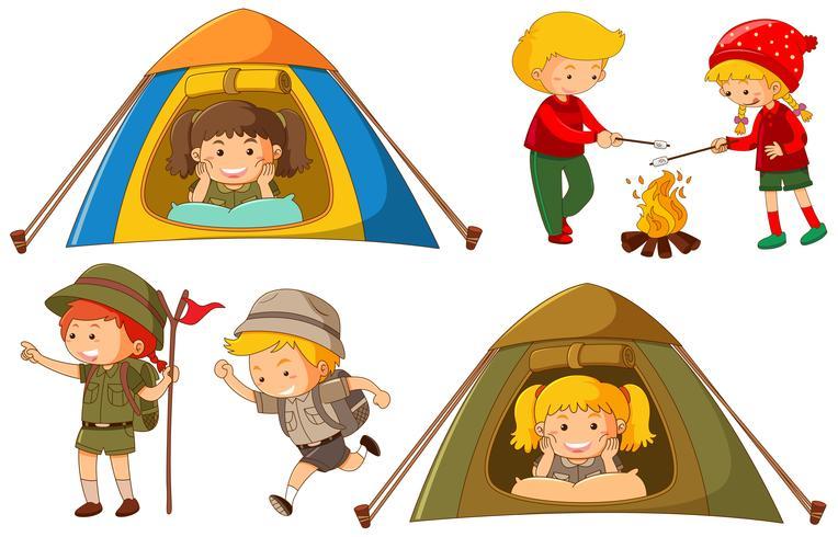 Gelukkige kinderen die verschillende activiteiten doen om te kamperen vector