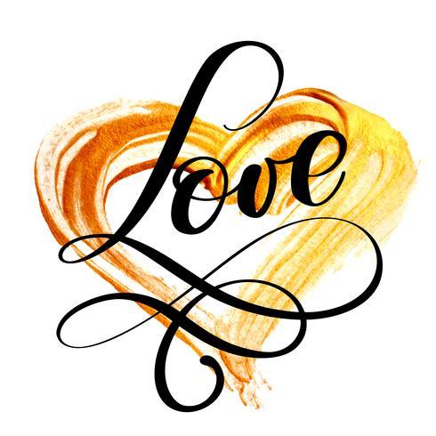 tekst LIEFDE kalligrafie gedijen op een achtergrond van een gouden hart. Happy Valentijnsdag kaart Lettertype. Leuke borstel inkt typografie voor foto overlays t-shirt afdrukken flyer posterontwerp vector