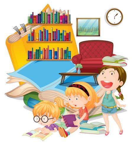 Drie meisjes die boeken samen lezen vector