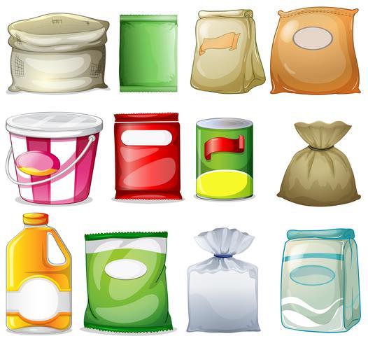 Verschillende verpakkingen en containers vector