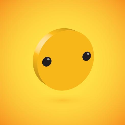 Gele hoog gedetailleerde 3D schijf emoticon, vectorillustratie vector