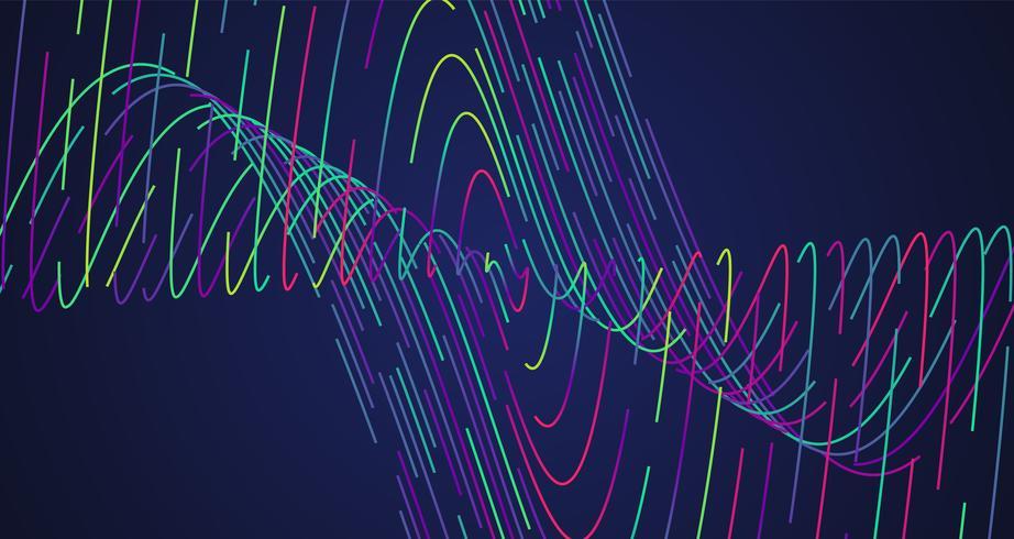 Kleurrijke neon gestormde lijnen, vectorillustratie vector