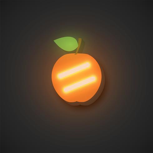 Realistische neonfruit, vectorillustratie vector