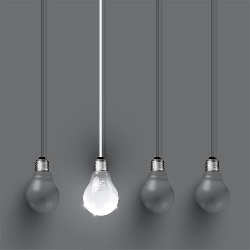 Hoog gedetailleerde realistische gloeilampenillustratie, vector