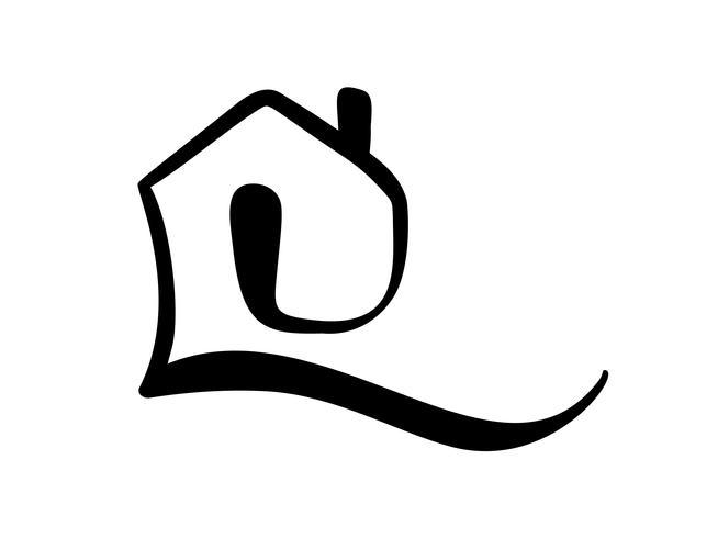 Eenvoudige kalligrafie huis echte Vector pictogram. Estate-architectuur Constructie voor ontwerp. Art huis vintage hand getrokken Logo-element