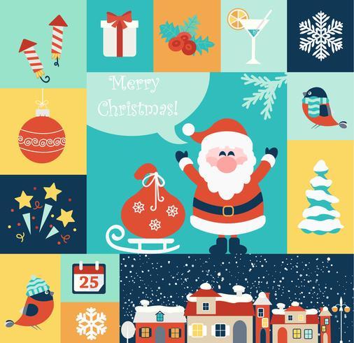 Kerst plat pictogrammen instellen. vector