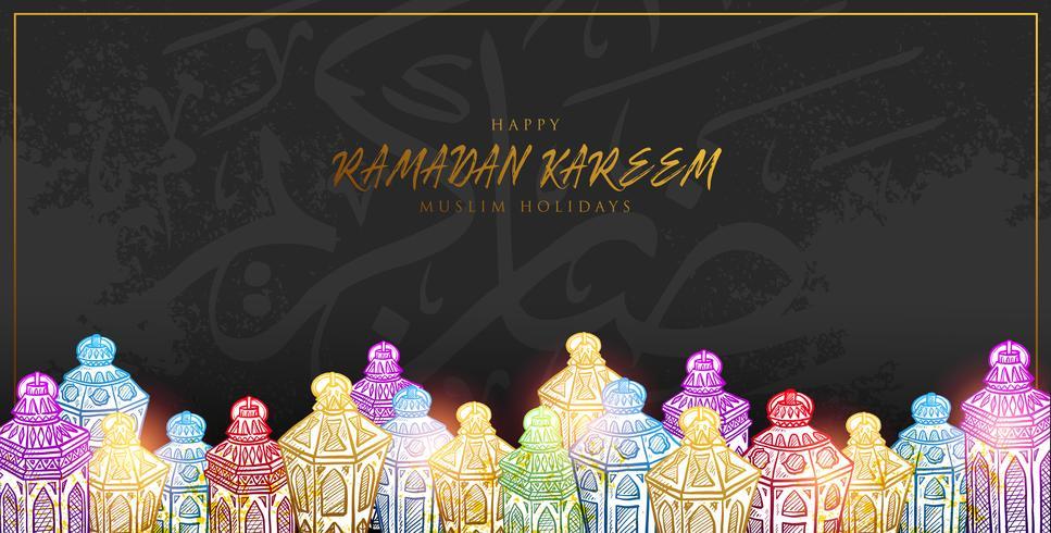 Vectorillustratieschets van Hand getrokken Ramadan Kareem-Lantaarn in Kleurrijke Gradatiekleur met grungeachtergrond. vector