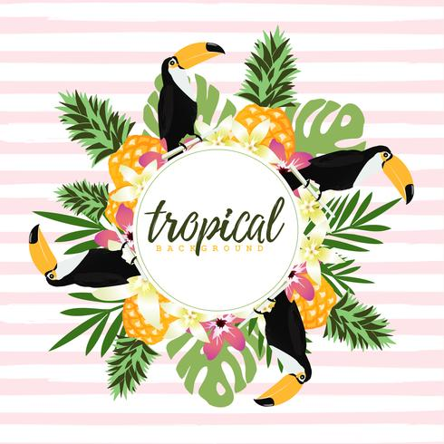Ananas, toekan en tropische bladeren met strepen naadloos patroon backgroun vector