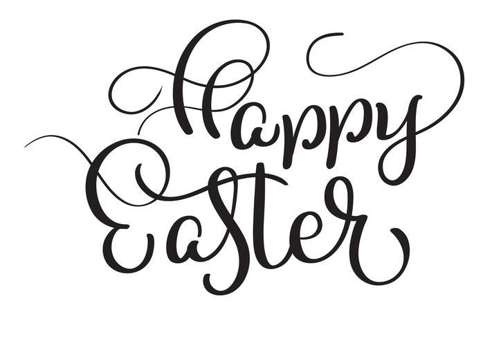 Gelukkige Pasen-woorden op witte achtergrond. Kalligrafie die Vectorillustratie EPS10 van letters voorzien vector