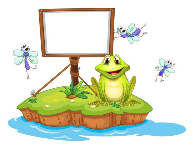 Een lege ingelijste uithangbord met een dier en insecten vector