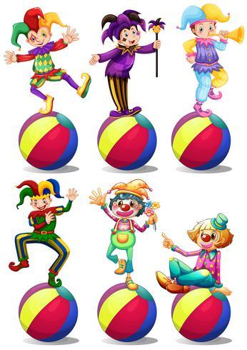 Zes karakters van clowns vector