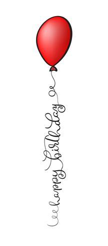 Gelukkige verjaardagstekst met rode ballon op witte achtergrond. Kalligrafie die Vectorillustratie EPS10 van letters voorzien vector