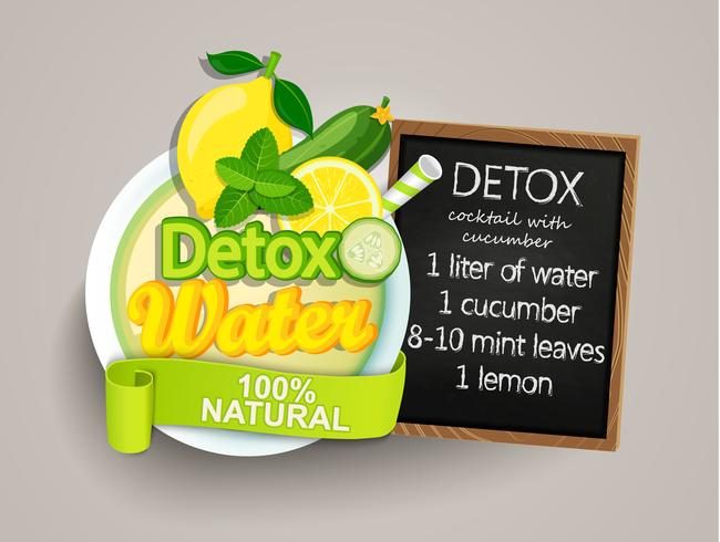 Recept detox cocktail-komkommer, citroen, water, munt. vector