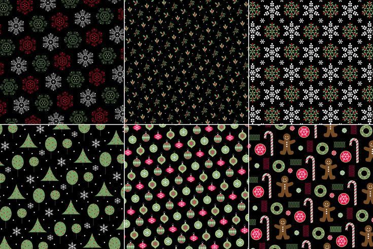 wintervakantie Kerst patronen op een zwarte achtergrond vector