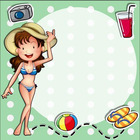 Een meisje draagt een bikini met een hoed vector