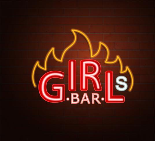 Neon teken van hete meisjes bar. vector