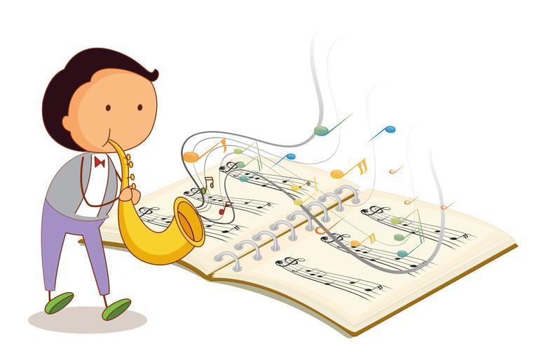 Een muzikant die een trompet met een muzikale notebook vector