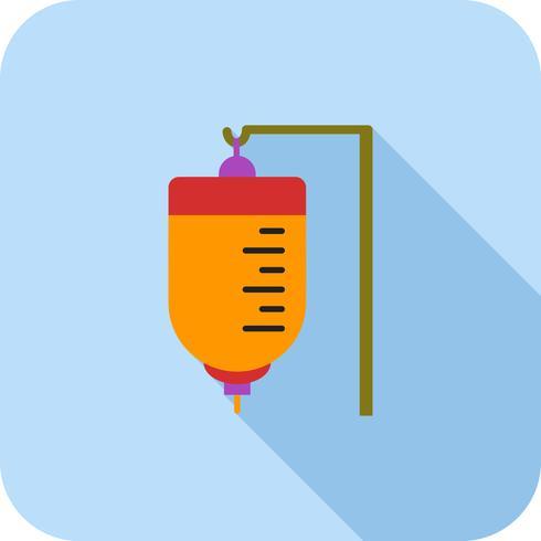 Medisch infuus plat lange schaduw pictogram vector