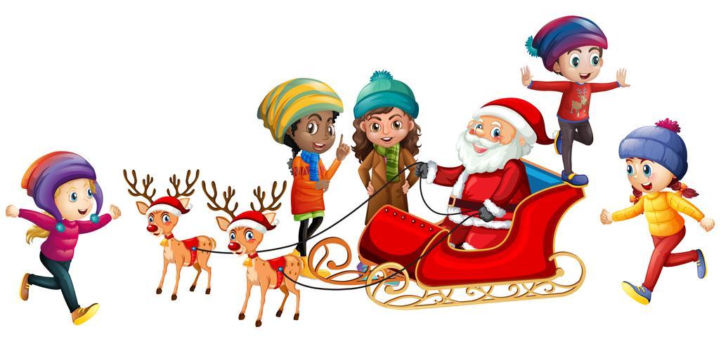 Kerstman en kinderen op witte achtergrond vector