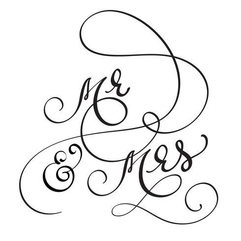 Hand getrokken kalligrafie Mijnheer en mevrouw tekst. belettering vectorillustratie EPS10 vector