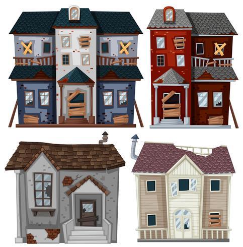 Oude huizen in zeer slechte staat vector