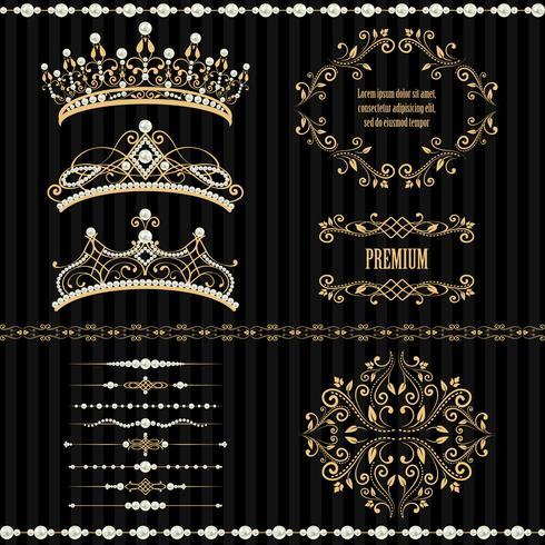 Verzameling van koninklijke ontwerpelementen instellen vector
