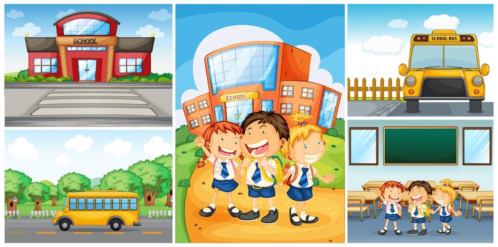 Kinderen en verschillende scènes op school vector