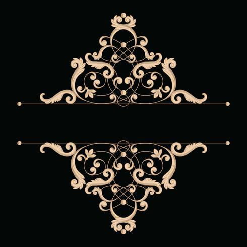 Divider of frame in kalligrafische retro stijl geïsoleerd op zwarte achtergrond. vector
