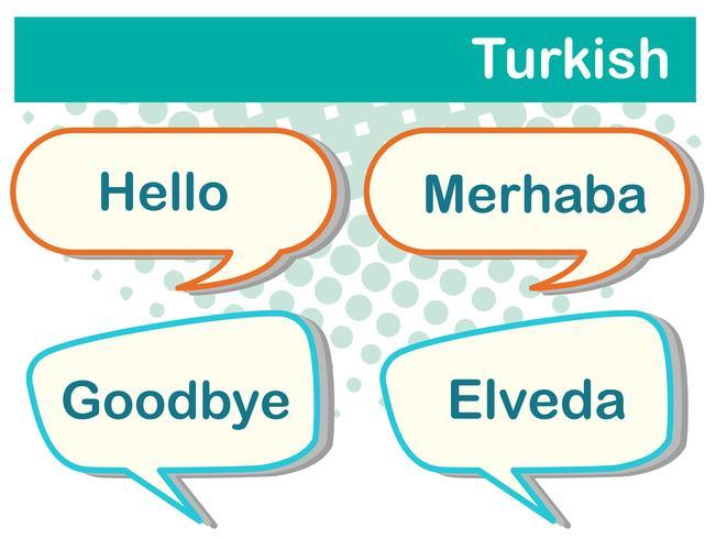 Tekstballonnen met Turkse woorden vector