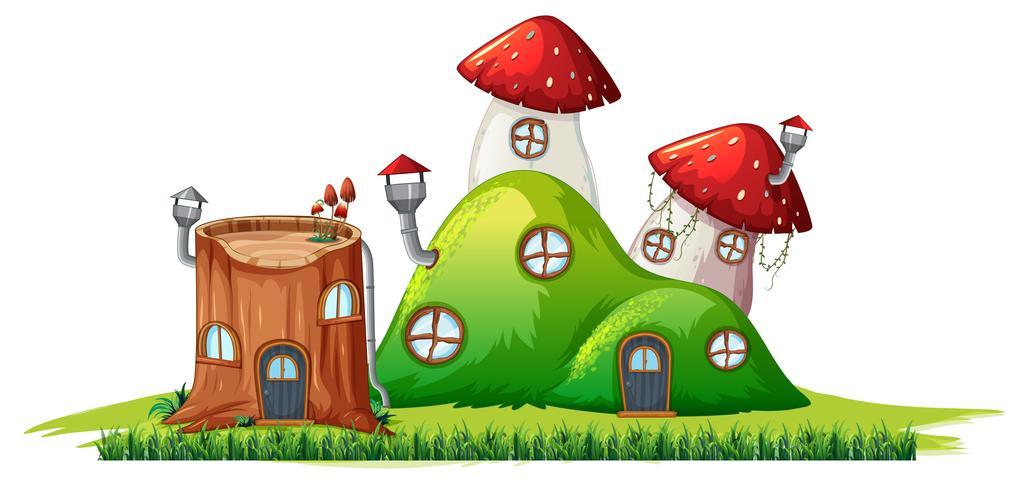 Geïsoleerdm magisch huis op witte achtergrond vector