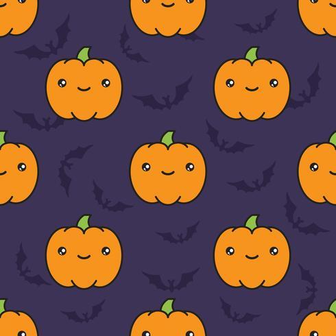 Naadloos Halloween-patroon met pompoenen op donkere violette achtergrond met silhouetten van flittermouse. vector