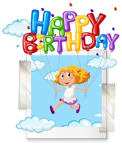 Meisje met gelukkige verjaardag ballon op photoframe vector
