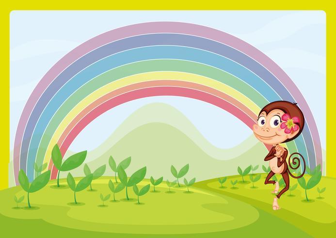 Een lachende aap en een regenboog vector