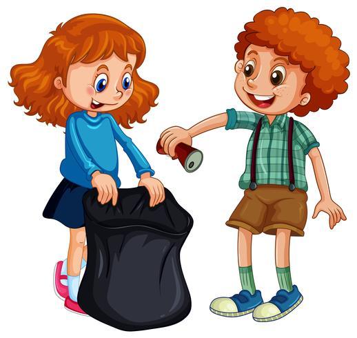 Jongen en meisje die vuilnis oppakken vector