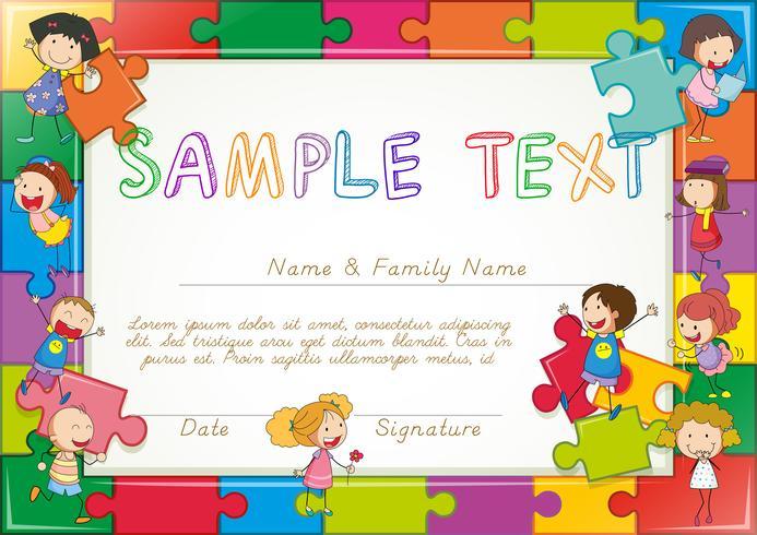 Diplomamalplaatje met figuurzaag en kinderenachtergrond vector