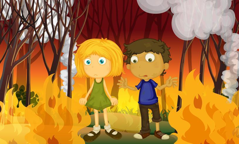 Een koppel in het bos met bosbrand vector