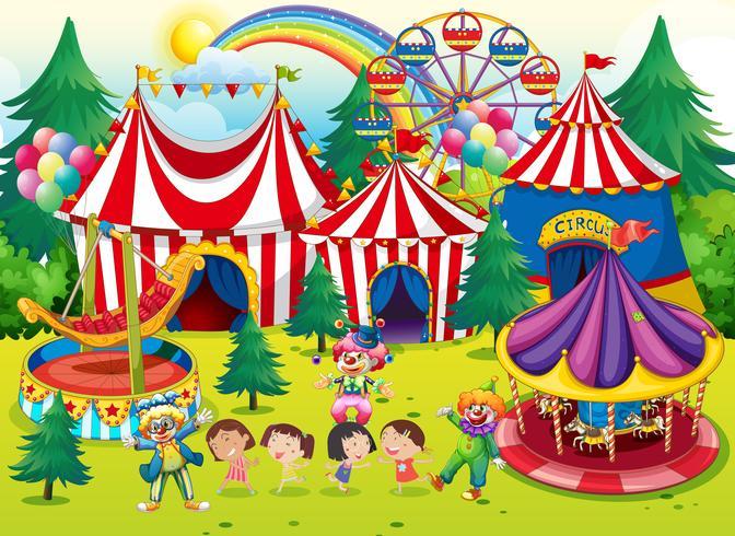 Kinderen vermaken zich in het circus vector