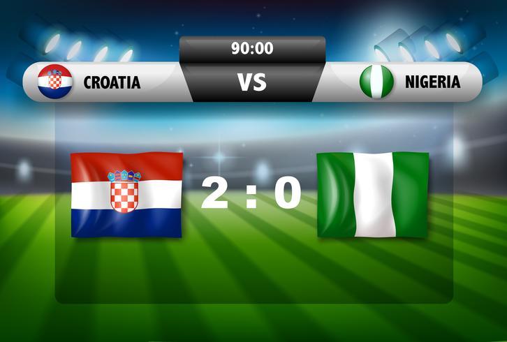 Kroatië versus het voetbalspel van Nigeria vector