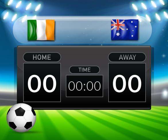 Irland vs Australië scoren bord vector