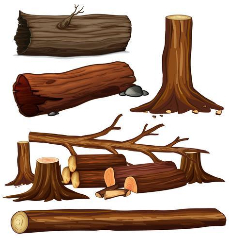 Een set boomhout vector