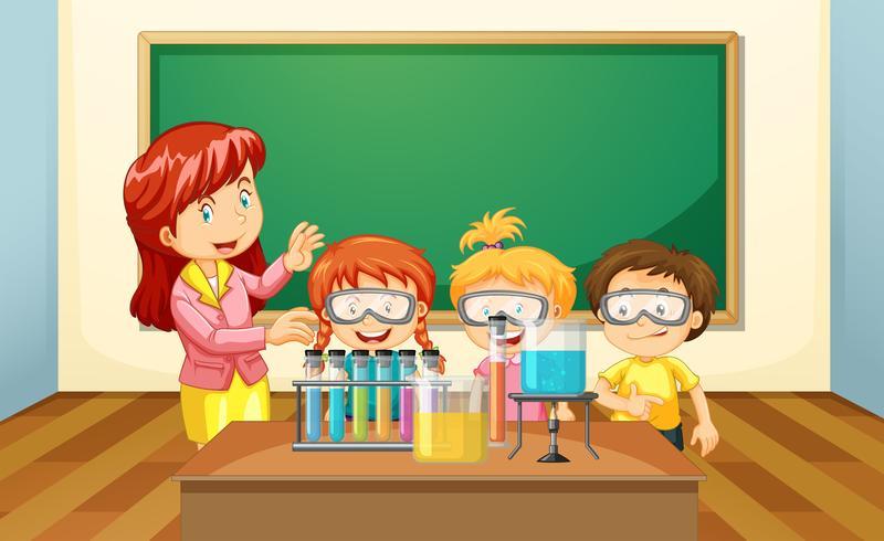 Een leraar en studenten experimenteren vector