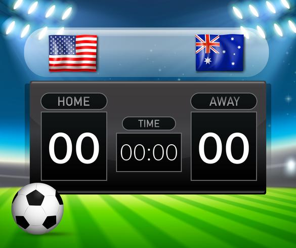 Verenigde Staten versus Australië scorebord concept vector