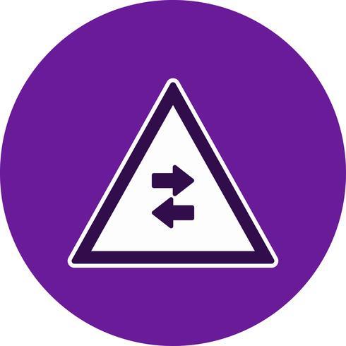 Vector Tweerichtingsverkeer kruist eenrichtingsverkeerstekenpictogram