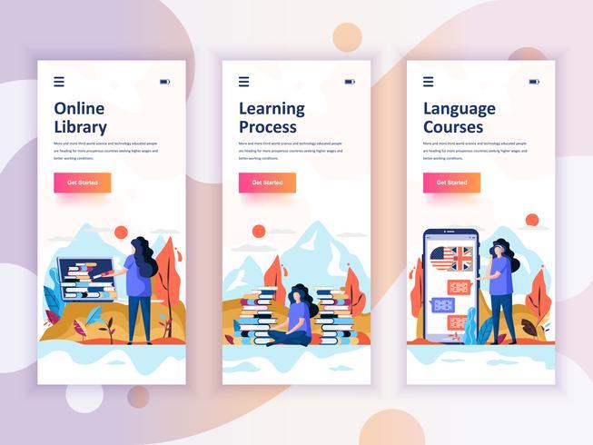 Set onboarding schermen gebruikersinterfacekit voor bibliotheek, leren, taalcursussen, concept van mobiele app-sjablonen. Modern UX, UI-scherm voor mobiele of responsieve website. Vector illustratie.