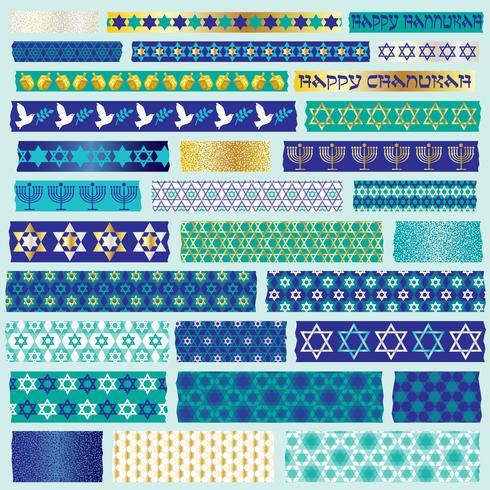 Chanoeka washi tape clipart vector