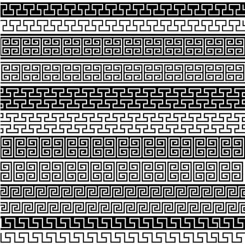 zwarte fretwork grenspatronen vector