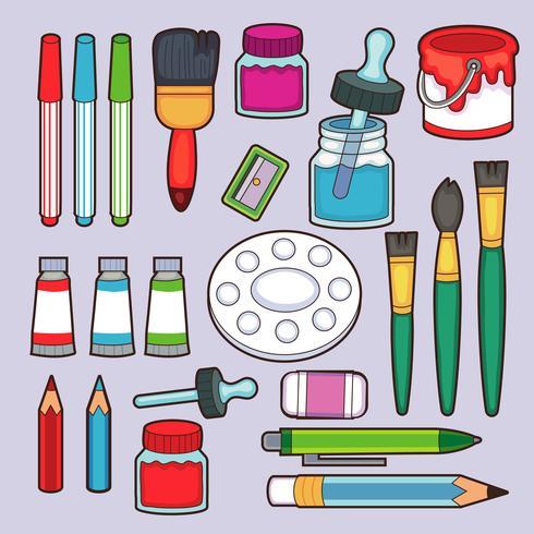 Tekengereedschappen. Cartoon penseel en canvas, ezel en verven. Aquarel palet. Artistieke vectorreeks van schildersezel en verf voor tekeningsillustratie vector