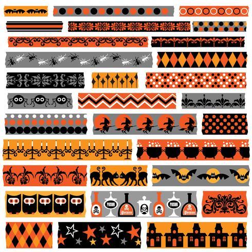 Halloween washi tape clipart vector